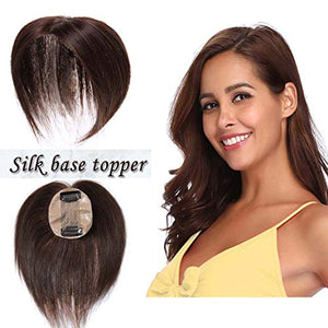 S-noilite Silk Base Real Human Hair Topper for Women Top Hairpiece Clips in Crown Hand Made Toupee Replacement Extentions for Hair Loss Thinning Hair Cover Gray Hair (6 Inch #04 Medium Brown)