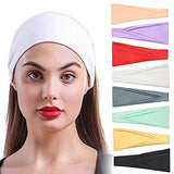 Headbands for Women, Bohemian Style Yoga Elastic Headwraps Head Wrap Hair Band 8 Pack (Style-1 (8-Pack))