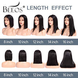 BEEOS 9A Short Bob 13x6 Lace Front Human Hair Wigs,150% Density Pre Plucked and Bleached Knots Natural Hairline Middle Part Brazilian Virgin Bobcut Wig
