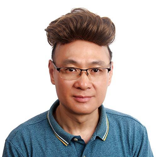H&Bwig Hairpiece Toupee for Men Short Brown and Blonde Mix Hair Topper for Thin Hair Men Hairpieces for Male with Thinning Hair Gray Hair/Hair Loss