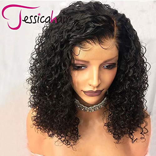 Jessica Hair 150% Density 13x6 Lace Front Wigs For Black Women Curly Human Hair Wigs Brazilian Remy Hair Wet Wavy Lace Wigs Pre Plucked With Baby Hair (14 inch with 150% density)