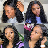 Water Wave Human Hair Wig Wet and Wavy Lace Front Wigs Human Hair Water Wave Frontal Wigs Glueless Pre Plucked Lace Front Wigs Human Hair with Baby Hair for Black Women Short Curly Lace Frontal Wigs