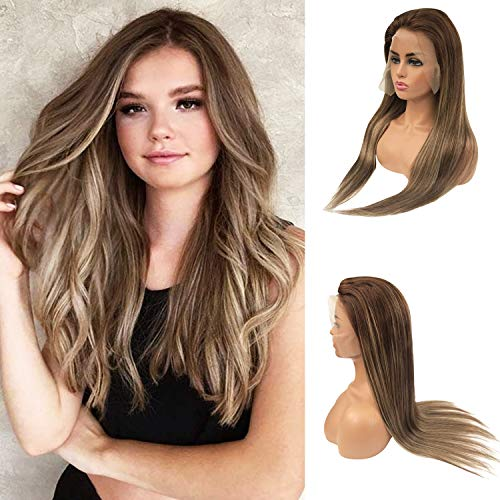 Lace Front Wigs Human Hair Balayge Real Remy Hair Lace Wig Ombre Medium Brown to Medium Brown with Honey Blonde Highlights 13x6 Lace Frontal Free Part Thick Glueless Pre Plucked Bleached Knots 14 Inch