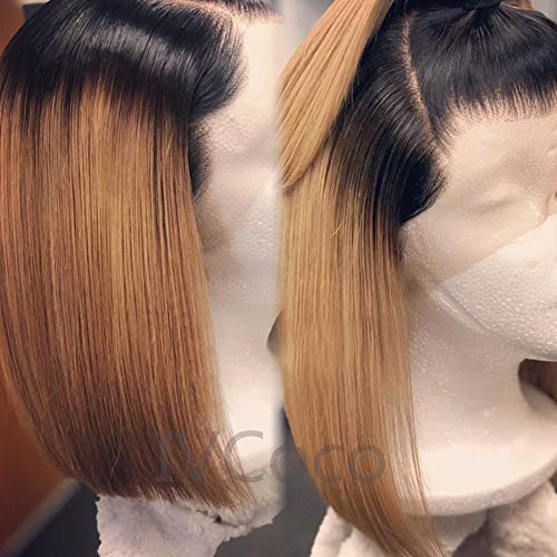 IVCoco 10A Glueless Ombre Blonde Human Hair Bob Wigs for Women Brazilian Straight 13X6 Bob Lace Front Wigs Middle Part Human Hair Short Wigs 2 Tone Lace Front Wigs Straight Short Bob Wig(8inch,1B-27)