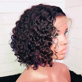 13x6 Short Wig Curly Brazilian Remy Hair 130% Lace Front Wigs Human Hair Wigs Glueless with Baby Hair (8 inch, Lace Front Wig)