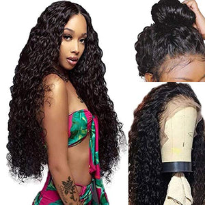 Lovigs Hair Lace Front Wigs with Baby Hair Long Loose Curly Synthetic Wig Heat Resistant Fiber Curly Wigs for Black Women(1B 24inch)