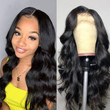Brazilian Body Wave 18 inch Lace Front Wigs 13×4 Human Hair Wigs 150% Density Lace Wigs Pre Plucked for Black Women Natural Hairline