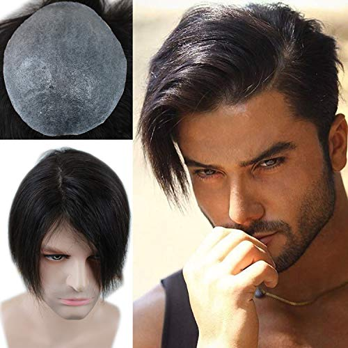 "Rossy&Nancy European Virgin human Hairpiece for Men's Toupee Ultra Transparent Thin Skin PU Replacement Hair Pieces 10""x8"" Base Size Natural Black Color"