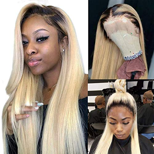 Straight #613 Blonde Human Hair Wigs with Dark Root Bleached Knots Ombre Color 1B/613 Lace Front Wigs 2 Tone 13x6 Deep Free Part Lace Frontal Wig 150% Density 14 Inch