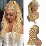 Blonde Lace Front Wig 613 Glueless Human Hair Deep Wave Wigs 14 Inch Pre Plucked 13x6 Natural Hairline With Baby Hair 150% Density Thick Soft and Bouncy for Black/White Women