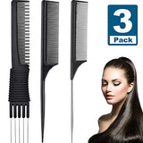 3 Pack Black Carbon Lift Teasing Combs with Metal Prong, Salon Teasing Back Combs, Black Carbon Comb with Stainless Steel Lift (Style H)