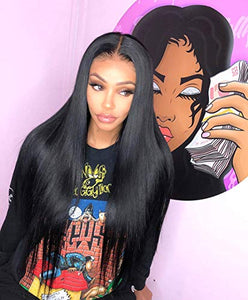 "ALICE 13x6 Lace Front Black Wig, 22"" Long Straight Middle Part Synthetic Wig for Women, Pre Plucked with Natural Hairline and Baby Hair"