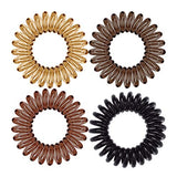 Kitsch Spiral Hair Ties, Coil Hair Ties, Phone Cord Hair Ties, Hair Coils - 8 Pcs, Brunette