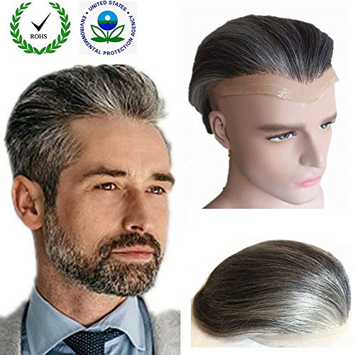 Grey hair Toupee for men Hair pieces for men N.L.W. European virgin human hair replacement system for men, 10