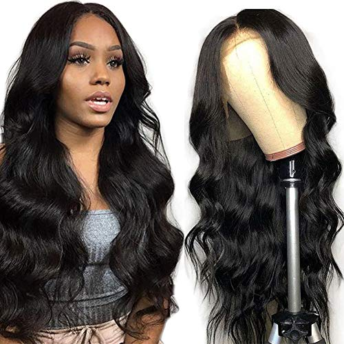 Grace Plus Hair 13x4 Brazilian Human Hair Lace Front Wig 150% Density Glueless Pre-Plucked Body Wave Lace Front Wigs For Black Women Natural Color Body Wave Human Hair Wigs with Baby Hair (18 inch)