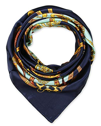 Elegant Women's Neckerchief Silk Feeling Satin Square Scarf Wrap 35