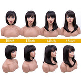 "12"" Short Bob Wigs Brazilian Straight Human Hair Wigs 130% Density None Lace Front Wigs Glueless Machine Made Wigs For Women"