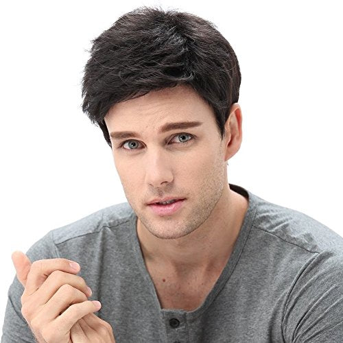 STfantasy Men Short Black Wigs Male Guy Layered Wavy Halloween Cosplay Anime Party Hair Black