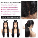 Subella 9A Straight Lace Front Wigs Human Hair (14inch) 150% Density Brazilian Human Hair Wig with Baby Hair Pre Plucked Natural Hairline Wigs for Black Women