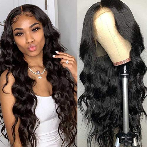 BLY HD Transparent Lace Wigs Body Wave Human Hair 28 Inch Swiss Lace Front Wigs 10A Virgin Human Hair With Baby Hair Pre Plucked 150% Density Natural Black Color