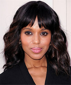 14 inch Shoulder length wavy wigs with bangs for black women natural looking short curly synthetic hair wigs heat resistant (Black mix Brown-02)
