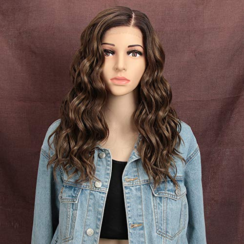 "REMY FORTE Lace Front Wig For White Women Ombre Chocolate Color Heat Resistant Fiber Wigs Synthetic Natural Wave Hair Wig With Large Area""L"" Mono Lace 201Grams 18 Inches(NTPG4/10A/12D)"