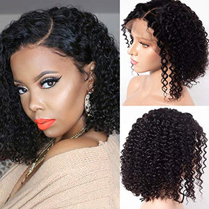 Star Show Human Hair Wigs Short Curly Hair Bob Wigs Brazilian Hair 13x4 Lace Front Wigs Pre Plucked and Bleached Knots Natural Color (10 inch bob wig)