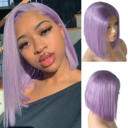 Lilac Lace Front Human Hair Bob Wig Silky Straight Middle Part Bob Wigs Glueless Pre Plucked 180 Density Swiss Lace Bob Wig 8 Inch