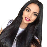 ENTRANCED STYLES Black Lace front Wigs for Women Synthetic Long Straight Wig Middle Parting Heat Resistant Fiber Natural Looking 150% Density