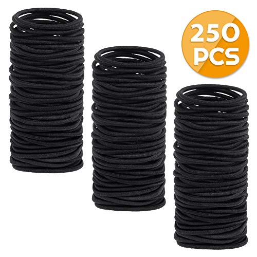 Anezus 250 Pcs 3mm Black Elastics Small Hair Ties Hair Bands Accessories for Girls