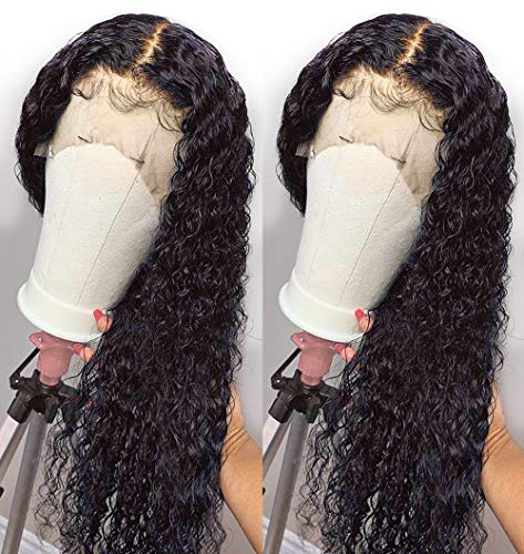 Andrai Hair Lace Front Wigs Curly Hair Glueless Lace Wig Wet and Wavy Long Loose curly wigs Synthetic Heat Resistant Fiber Natural Black Hair Wig With Baby Hair For Black Women 20 Inch