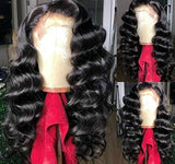 Loose Deep Wave Synthetic Lace Front Wigs 180% Density Glueless Natural hairline Deep Wave Front Lace Wig For Black Women Natural Color 20Inch