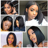 Amella Hair Short Straight Bob Wigs Brazilian Virgin Human Hair Lace Closure Wigs Human Hair Wig(8 inch) 4x4 Lace Part 150% Density Pre Plucked with Baby Hair