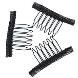 Fani 40 Pcs Stainless Steel Lace Wrapped Wig Combs for Wig Caps Glueless Wig Clips (Black)