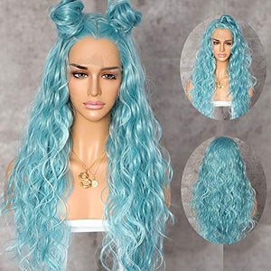 QD-Udreamy Light Blue Natural Long Wavy Synthetic Lace Front Wigs Party Wigs Heat Resistant Synthetic Hair Wigs for Women Make up