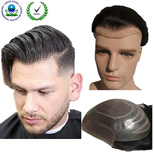 Toupee for men Hair pieces for men N.L.W. European virgin human hair replacement system for men, 10