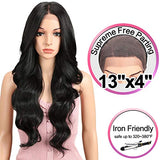 "JOEDIR 26"" Big Curly Wavy Supreme Free Parting Lace Frontal Wigs With Baby Hair High Temperature Synthetic Wigs For Black Women 180% Density Natural Black Color Wigs 230g(1B)"
