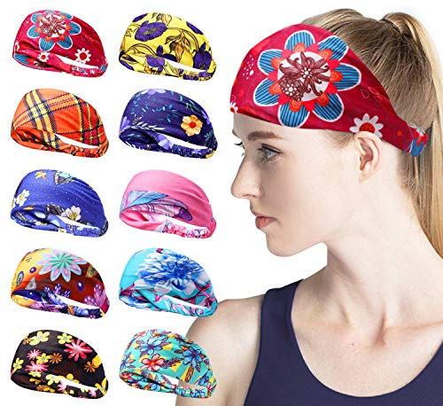15 Pack Women Headband Yoga Running Headbands Sports Workout Hair Bands Elastic Boho Floal Style Head Wrap Cute Hair Accessories