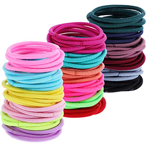 200 Pieces Multicolor Tiny Baby Girls Hair Ties No Crease Hair Bands Bulk Elastics Ponytail Holders (2.5 cm in Diameter, 2 mm, Multicolor-B)