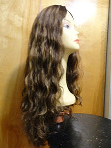 "European Multidirectional 26"" Wavy Wig Sheitel Medium Brown/Highlights 6-8-10 L"
