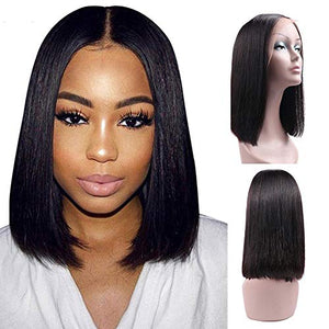 Ucrown Hair 13x4 Lace Front Short Bob Wigs (12inch) Brazilian Straight Human Hair Wigs For Black Women 130% Density Pre Plucked with Baby Hair Natural Black