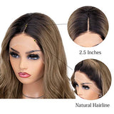 K'ryssma Brown Lace Front Wigs Ombre Dark Roots Natural Looking Glueless Long Wavy Synthetic Wig for Women 2 Tone Heat Resistant 22 inches