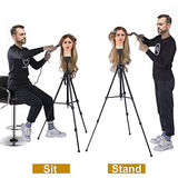 Klvied Adjustable Wig Stand Tripod Metal Mannequin Head Stand Wig Head Stand with Counter Weight Hook for Cosmetology Hairdressing Training with Wig Caps, T-Pins, Comb, Hair Clip, Carrying Bag