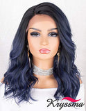 K'ryssma Blue Lace Front Wig Ombre with Black Roots Short Wavy Bob Synthetic Wig L Part Deep Side Parting Short Bob Wigs for Women
