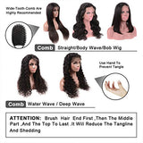 Brazilian Water Wave Lace Front Wigs with Baby Human Hair Wet and Wavy Water Wave 150% Density Virgin Glueless Remy Pre Plucked 100% Unprocessed Lace Front Wigs for Black Women Natural Color 24 inch