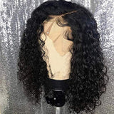 MS.ILSA 13x4 Lace Front Wig Pre Plucked Bleached Knots With Baby Hair Brazilian Remy Curly Human Hair Wigs for Black Women 130% Density Natural Color 10 Inches
