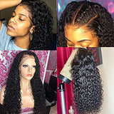 Human Hair Lace Frontal Wig Water Wave Lace Wigs Wet and Wavy Human Hair Wig with Baby Hair Pre Pluked Human Hair Wigs for Black Woman 100% Unprocessed Virgin Human Hair Lace Front Wigs Free Part