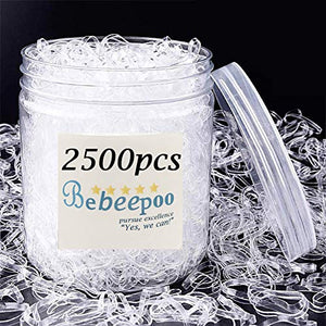Clear Elastic Hair Bands,BEBEEPOO 2500pcs Mini Hair Rubber Bands with a Box, Soft Hair Elastics Ties Bands 2mm in Width and 30mm in Length-Hair Elastics - STRONG - REUSEABLE