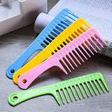 TecUnite 4 Pieces 9 1/2 Inches Anti-static Large Tooth Detangle Comb, Wide Tooth Hair Comb Salon Shampoo Comb for Thick Hair Long Hair and Curly Hair (Mutil Color 1)