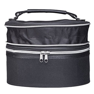 Expandable Wig Travel Case - Mini Sized - Breathable Black Canvas Material with Carrying Handles - By Dini Wigs